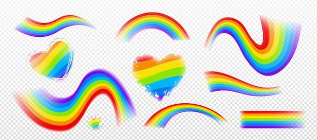 Conjunto de arco-íris colorido com diferentes formas isoladas.