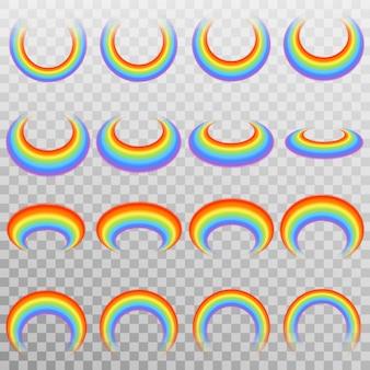 Conjunto de arco-íris colorido realista.