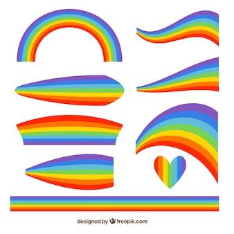 Conjunto de arco-íris colorido