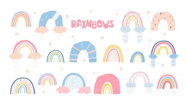 Conjunto de arco-íris com sol, nuvens, chuva no estilo cartoon, isolado