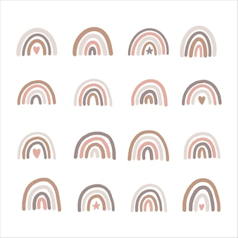 Conjunto de arco-íris de berçário boho desenhado à mão