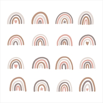 Conjunto de arco-íris desenhado à mão. estilo minimalista escandinavo.