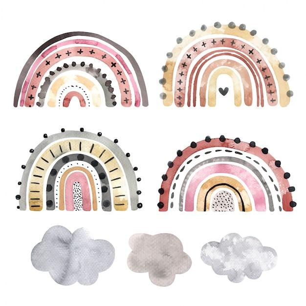 Conjunto de arco-íris elegantes em aquarela, isolado em um fundo branco. elementos desenhados à mão para logotipo, decoração de berçário, têxteis e outros fins.
