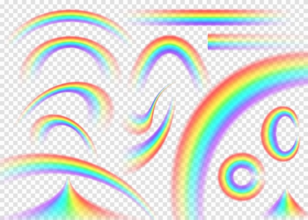 Conjunto de arco-íris isolado em forma diferente.