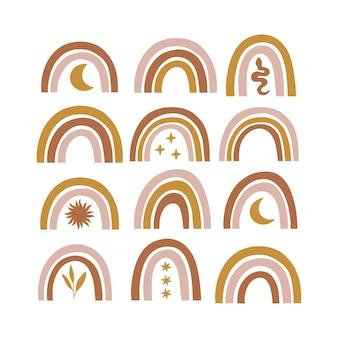 Conjunto de arco-íris moderno celestial e místico. ilustração boho
