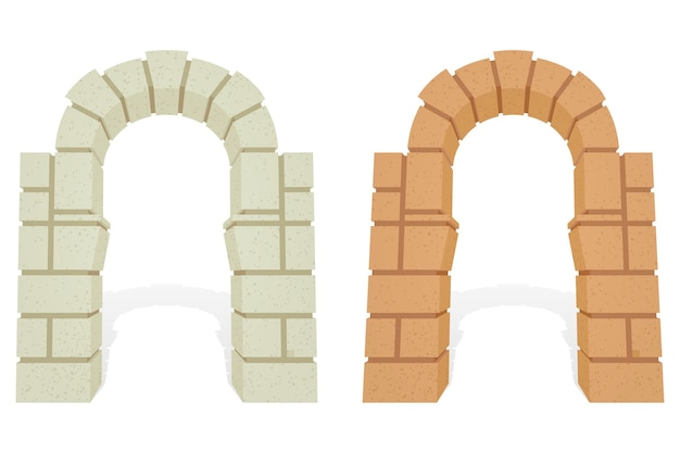 Conjunto de arcos 3d isométricos arquitetônicos de pedra.
