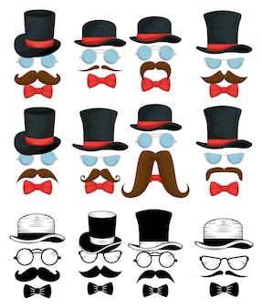 Conjunto de arcos de gravata com chapéus e óculos