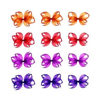 Conjunto de arcos de presente brilhante colorido