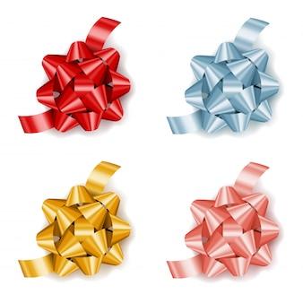 Conjunto de arcos de presente realista colorido com fita, decoração para presentes