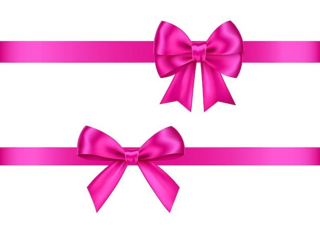 Conjunto de arcos de presente rosa isolado no fundo branco decoração de aniversário de ano novo de natal Vetor Premium