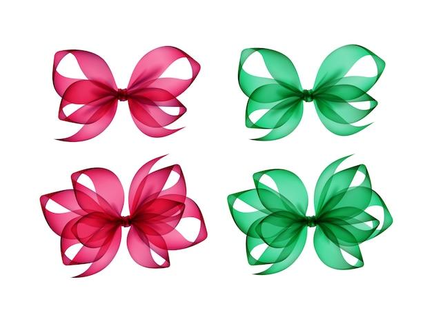 Conjunto de arcos de presente verde rosa com formas diferentes