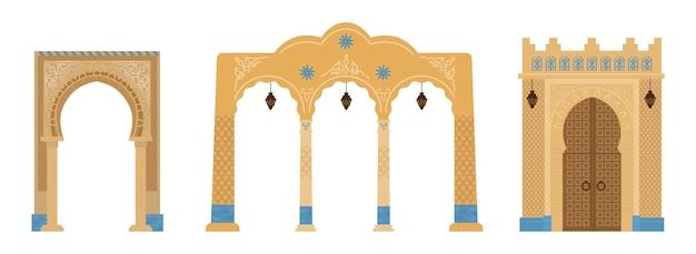 Conjunto de arcos indianos com mosaicos, lanternas. elementos da arquitetura do oriente médio.