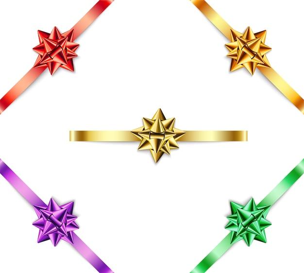 Conjunto de arcos multicoloridos com fitas em fundo branco.