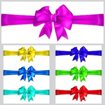 Conjunto de arcos multicoloridos com fitas horizontais