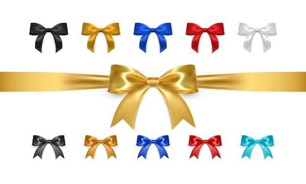 Conjunto de arcos realistas, isolado no fundo branco. laços de presente dourados, brancos, pretos, vermelhos e azuis