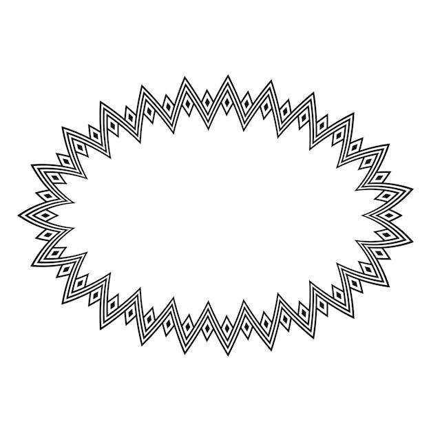 Conjunto de armação de borda redonda oval étnica indígena americana. vetor