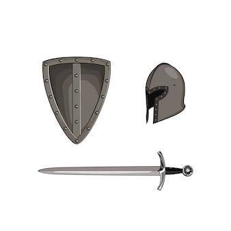Conjunto de armadura de metal de meia idade. cavaleiro de aço capacete, escudo, espada, lâmina. ilustração gráfica. isolado fundo branco
