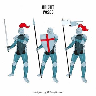 Conjunto de armadura de três cavaleiros desenhados a mão