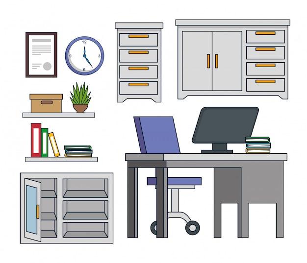 Conjunto de armário de escritório com computador e livros na mesa