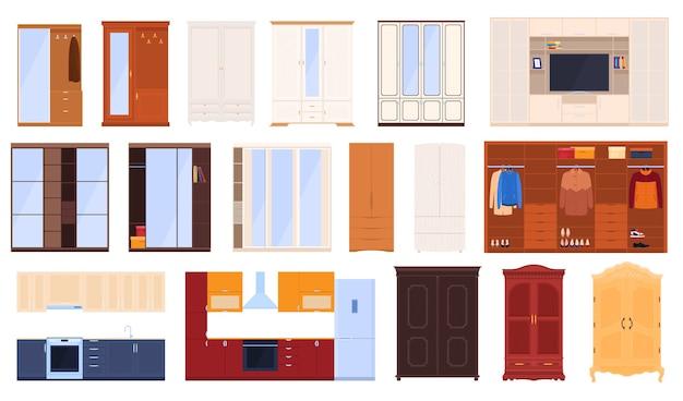 Conjunto de armários. móveis de cozinha, armários de quarto, corredores.