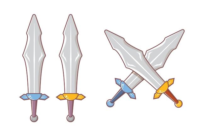 Conjunto de armas de espadas de cavaleiros medievais de desenho animado