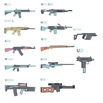 Conjunto de armas de vários tipos de ícone