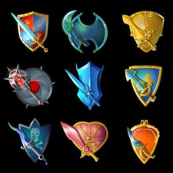 Conjunto de armas medievais decorativas de desenho animado