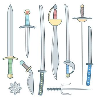 Conjunto de armas medievais frio de contorno