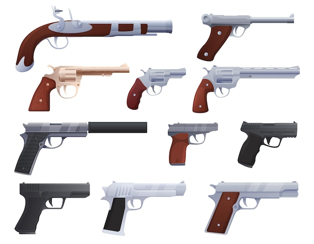 Conjunto de armas modernas e antigas, pistolas, revólveres ,. ilustração vetorial