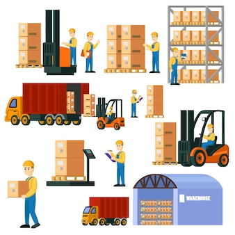Conjunto de armazém logístico colorido