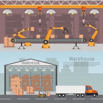 Conjunto de armazenamento interior de linha de montagem de robótica de automação de armazém com teto de transporte e entrega e lâmpadas ilustração plana caminhão de vagão de conceito logístico