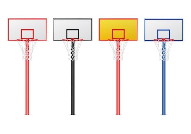 Conjunto de aros de basquete.