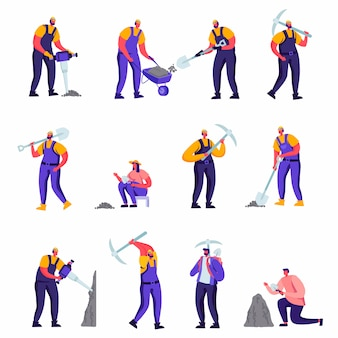 Conjunto de arqueólogos planas e personagens de trabalhadores de reparação de estrada