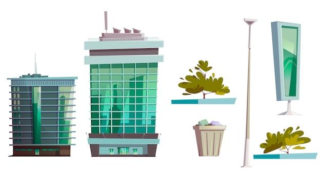 Conjunto de arquitetura de casa moderna de edifícios arranha-céu