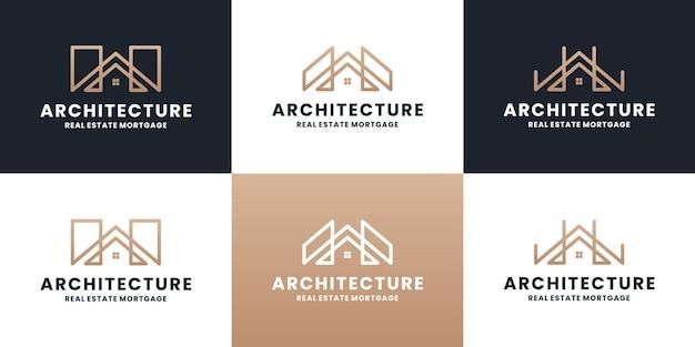Conjunto de arquitetura de design de logotipo imobiliário com cor dourada