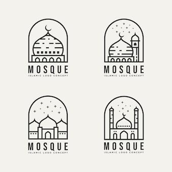 Conjunto de arquitetura de mesquita islâmica minimalista linha arte logotipo modelo ilustração vetorial design