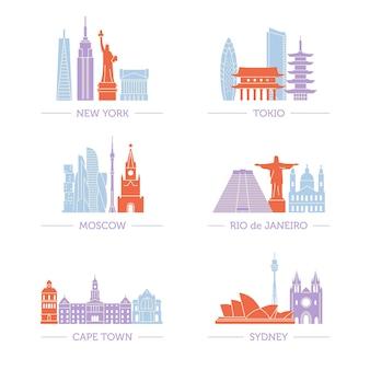 Conjunto de arquitetura popular em todos os continentes