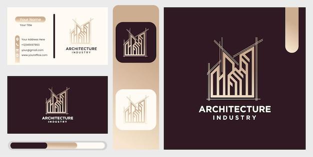 Conjunto de arquitetura residencial moderna, modelo de logotipo de design de construção de ícone industrial