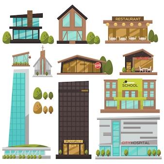 Conjunto de arquitetura urbana moderna.