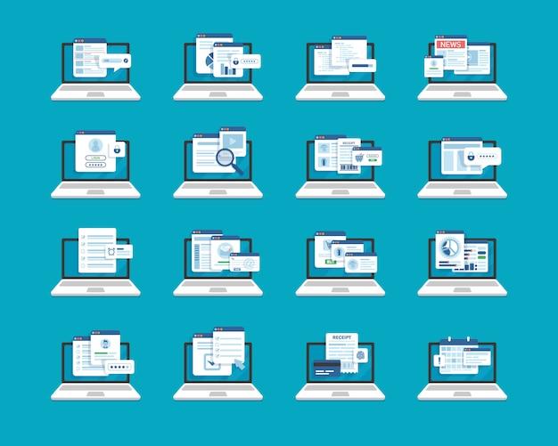 Conjunto de arquivos de laptop e documentos