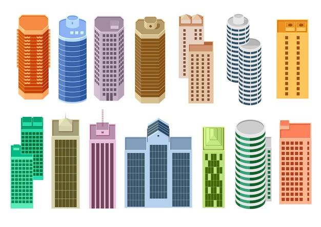 Conjunto de arranha-céus dos desenhos animados