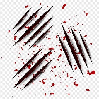 Conjunto de arranhões de garras com sangue vermelho