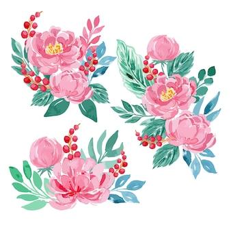 Conjunto de arranjo de buquê floral de peônia rosa aquarela