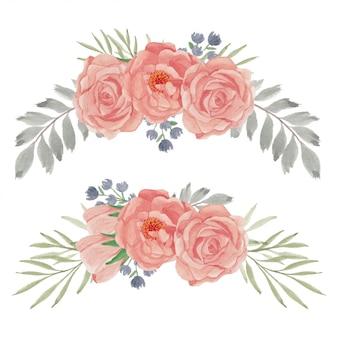 Conjunto de arranjo de curva de flor de pêssego rosa pintado à mão