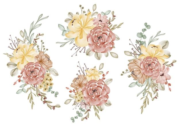 Conjunto de arranjo de flores em aquarela