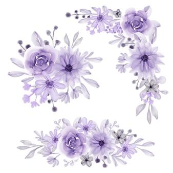 Conjunto de arranjo de flores isolado flor roxo suave aquarela