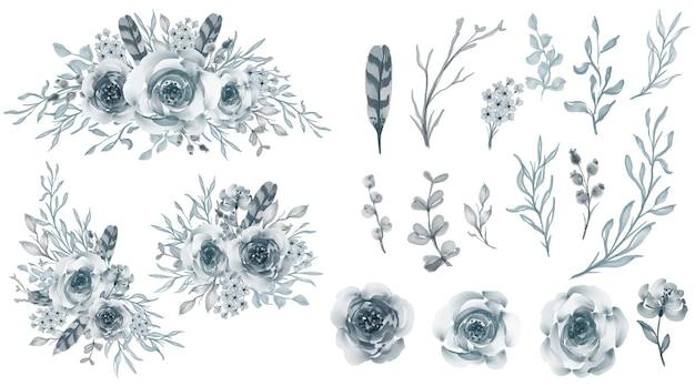 Conjunto de arranjo de flores rosa pastel azul com flores e folhas isoladas