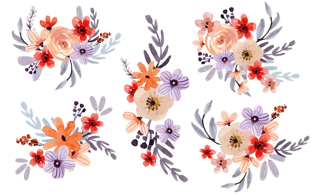Conjunto de arranjo floral de aquarela doce roxo e laranja