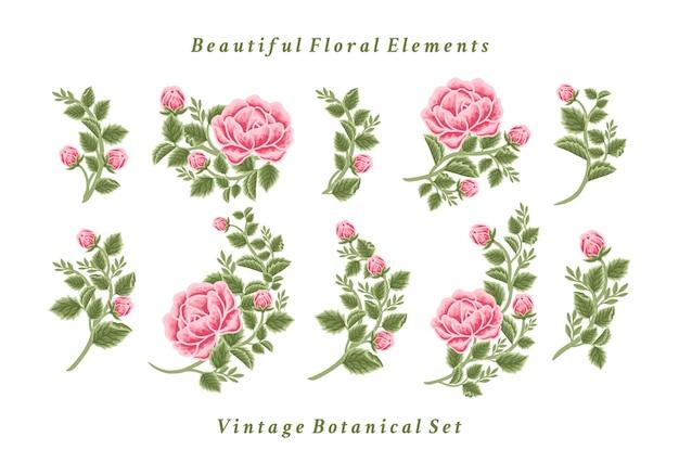 Conjunto de arranjos de buquê de flores vintage rosa