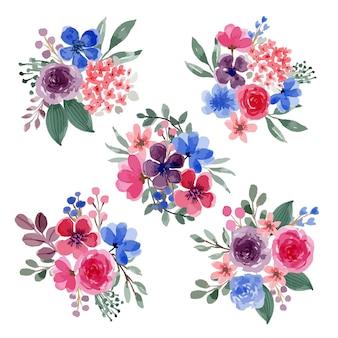 Conjunto de arranjos de buquê floral de tema roxo aquarela